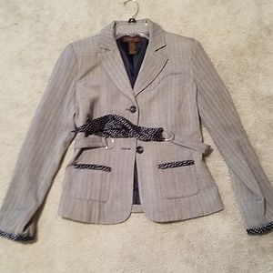 Navy Blazer with Polka Dot Accents and Belt